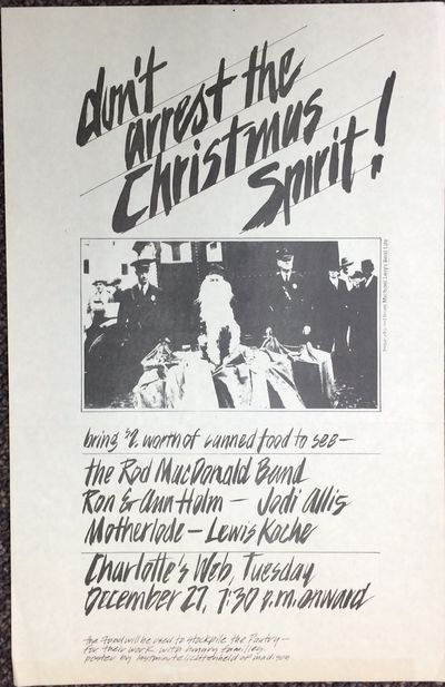 , n.d.. 11x17 inch poster, neat fold crease and mild toning; asks the reader to bring $2 worth of ca...