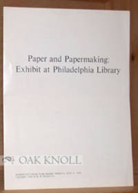 N.P.: n.p., 1968. self paper wrappes. Papermaking. small 4to. self paper wrappes. (4) pages. Reprint...