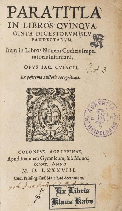 1588. Cologne: Apud Ioannem Gymnicum, 1588.. Cologne: Apud Ioannem Gymnicum, 1588. Influential Comme...