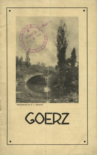 NY: C.P. Goerz American Optical Co, 1916. 12mo., 16 pp., illustrated. Pictorial paper wrappers, date...