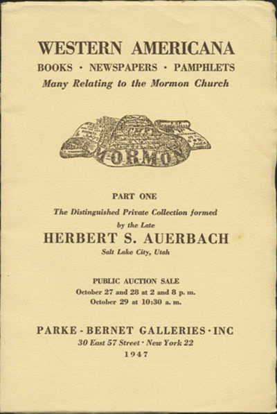 New York: Parke-Bernet Galleries, 1947. First edition. Paper wrappers. A very good+ copy, with minor...