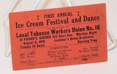 : Local Tobacco Workers Union no. 16, 1910. Small publicity card, 4x2.5 inches slightly soiled, all ...