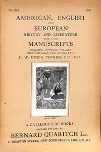 Catalogue 801/1960: American, English and European History and Literature  with a few...