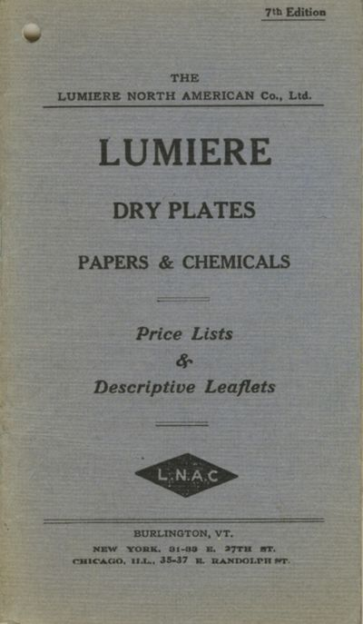 Burlington, Vt: The Lumiere North American Co, 1909. 7th edition. 24mo., pp., illustrated. Printed s...