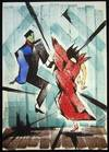 View Image 1 of 3 for 1957 Original Watercolor & Ink Abstract, Dancing Couple Signed Salazar Inventory #26571