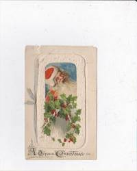 1912 VINTAGE CHRISTMAS CARD WITH SMALL SANTA BOOKLET ON FRONT WITH RIBBON  SAYTING TO JESSIEWESTCOTT WALLACE FROM ELMER