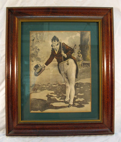 VG. 26.5 cm x 32 cm. Framed color picture; wood appears to be mahogany. Appears 1940ish.