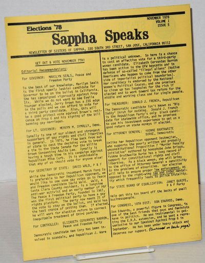 San Jose: Sisters of Sappha, Lesbian Feminist Alliance, 1978. 4p., 8.5x11 inches, campaign ads, arti...