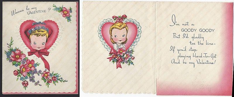 VINTAGE VALENTINE CARD WITH LITTLE GIRL, Valentine