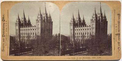 Salt Lake City: Pan American Photo Art Co, 1890. Stereoview. Silver gelatin photograph on a tan curv...