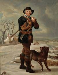Original Period Early 19th Century Oil on Canvas Painting 'The Woodman' A man carrying an axe under one arm whilst smoking a pipe, his dog beside him as they walk down a snowy path by AFTER THOMAS BARKER OF BATH (1769-1847) - from The Antique Map & Bookshop (SKU: 81440)