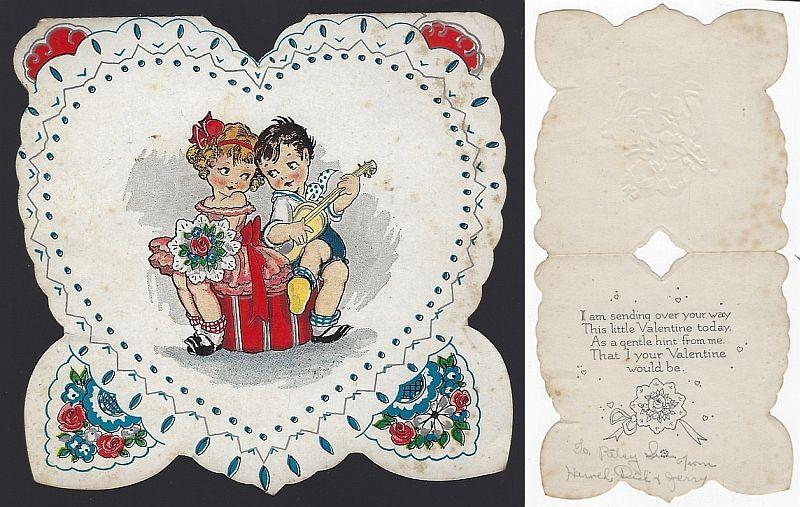 VINTAGE VALENTINE CARD WITH LITTLE BOY SINGING TO LITTLE GIRL, Valentine