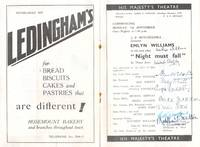 """image of Programme for """"Night Must Fall"""" signed by Williams and the cast (Emlyn, 1905-1987, Actor and Playwright), Ben WEBSTER (1864-1947, Actor), his wife Dame May WHITTY (1865-1948, Stage and Film Actress), Angela BADDELEY (1904-1976, Character Actress, Sister of Hermione Baddeley), Michaeal SHEPLEY (1907-1961, Actor), Freda JACKSON (1907-1990, Actress), Doris HARE (1905-2000, Actress, Singer, Dancer and Comedian), Betty JARDINE (1903-1945, Actress) and Matthew BOULTON (1893-1962, Actor)"""