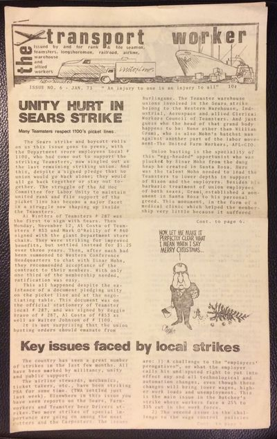 San Francisco: The Transport Worker, 1974. 6 page newsletter, 8.5x14 inches,folded for mailing, mino...