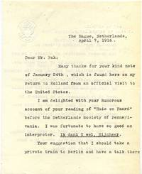 Typed letter signed by Henry Van Dyke (1852-1933).
