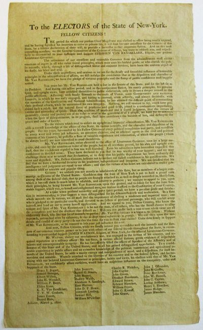 Albany, 1801. Folio Broadside, 9