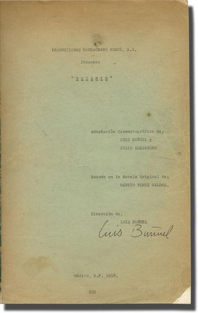 Mexico: Producciones Barbachano Ponce, 1958. Draft script for the 1959 film. Presentation copy belon...