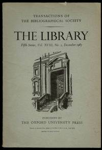 image of The Library 5th Series Vol XVIII No. 4 December 1963: Transactions of the Bibliographical Society