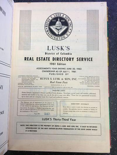 Washington, DC: Rufus S. Lusk & Son, Inc, 1961. folio, 365pp.; VG-; 1/4 bound with maroon cloth spin...