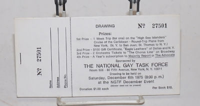 New York: NGTF, 1987. Eight tickets 7x3.5 inches printed recto-only, numbered 27501-27509, stapled t...