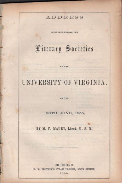 Richmond: H. K. Ellyson's Steam Press, 1855. First Edition. Wraps. Very good. Disbound wraps. Approx...