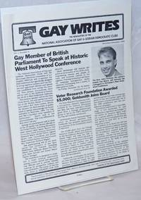 Gay Writes: the newsletter of the National Association of Gay & Lesbian Democratic Clubs; vol. 1, #1, November/December 1985; Gay member of British Parliament to speak at West Hollywood Conference