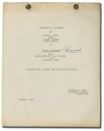 Universal City: Universal Pictures, 1947. American Post-production Continuity and Dialogue script fo...