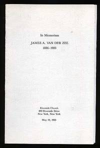 New York, 1983. Unbound. Fine. Commemorative leaflet from Van Der Zee's funeral service. Fine, with ...