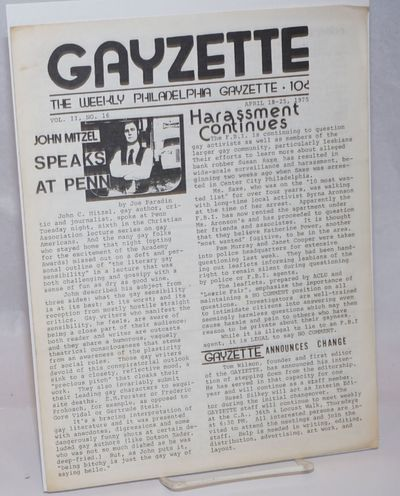 Philadelphia: The Weekly Gayzette, 1975. 4p., 8.5x11 inches, articles, news, reviews, calendar of ev...