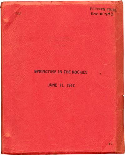 Los Angeles: Twentieth Century-Fox, 1942. Revised Final Script for the 1942 film musical,