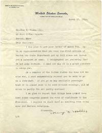 Typed letter signed by Henry French Hollis (1869-1949).