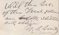 Uncommon Note of President Ulysses S. Grant to His Secretary of the Treasury