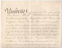 image of Finely penned Document signed, in Italian with translation, to the President of Peru, (1844-1900, from 1878 King of Italy)
