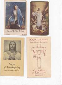 image of 4 VINTAGE PRAYER CARDS INCLUDING THE RISEN SAVIOUR, OUR LADY OF THE  MIRACULOUS MEDAL, HOLY YEAR OF THE REDEMPTION, PRAYER OF THANKSGIVING FOR  COMMUNION