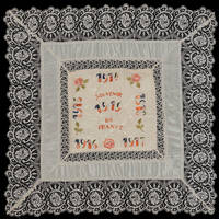 """image of WWI """"Souvenir de France"""" silk & Belgian lace embroidered pillow sham"""