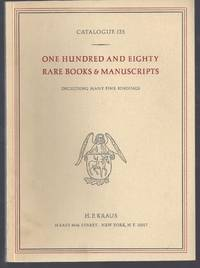 image of Catalogue 125: One Hundred and Eighty Rare Books_Manuscripts; Including Many Fine Bindings