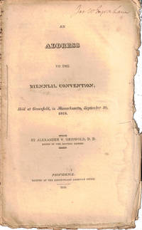 An Address to the Biennial Convention Held at Greenfield, in Massachusetts, September 30, 1818
