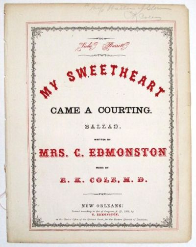, pp. With Dr. Cole's penciled signature, and inscription to a Miss Hattie ---. Decorated title bord...