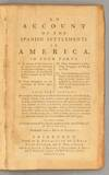 View Image 2 of 5 for ACCOUNT OF THE SPANISH SETTLEMENTS IN AMERICA Inventory #89823
