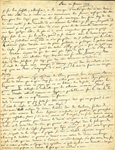 Paris, 1774. Pasumot, François (1733-1804). Autograph letter signed, in French, to an unidentified ...