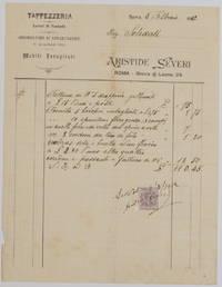 TAPPEZZERIA LAVORI DI FANTASIA ADDOBBATORE DI APPARTAMENTI  ARISTIDE SEVERI ROMA 8 FEBBRAIO 1912