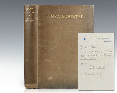 London: Johnathan Cape, 1929. First edition of Dutton's account of his 1926 expedition up Mount Keny...
