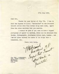 Typed letter signed and with a handwritten note by Tufton Beamish (1874-1951).