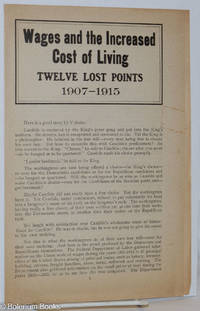 image of Wages and the increased cost of living, twelve lost points, 1907 - 1915