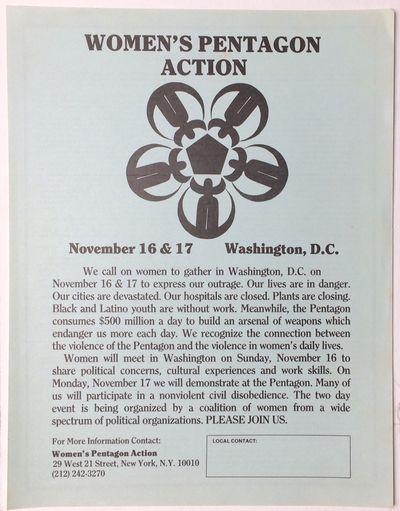 New York: Women's Pentagon Action, 1980. 8.5x11 inch handbill, Unity Statement in fine print on the ...