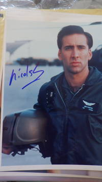 SIGNED  Color Photograph  Handsome Nicolas Cage Hollywood Actor in US Navy Coat Holding Helmet