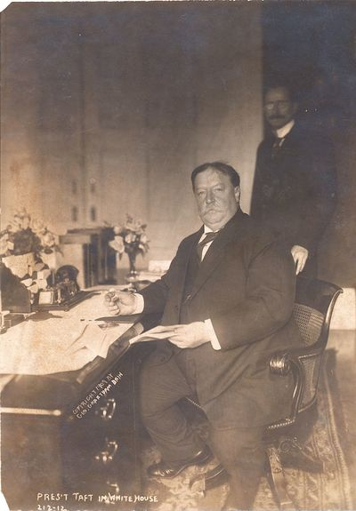 This photographic proof of Pres. Taft in his first year in office sitting at his White House desk is...