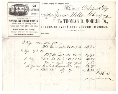 Boston, 1871. Letter. Good. Creaseline and bit of loss. Many kgs of colors and 15 gallons of linseed...