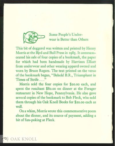New Hope, PA: Bird & Bull Press, 1985. paper wrappers. Bird & Bull Press. 12mo. paper wrappers. (4) ...
