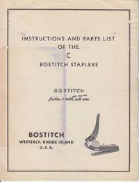 image of Instructions and Parts List of the C Bostitch Staplers [SCARCE]